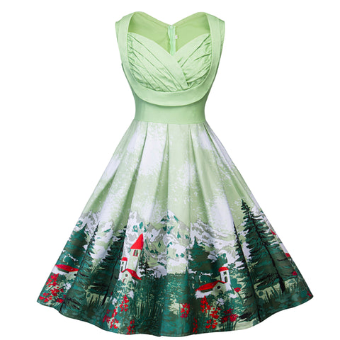 Sleeveless V-neck Christmas Print Vintage Dress