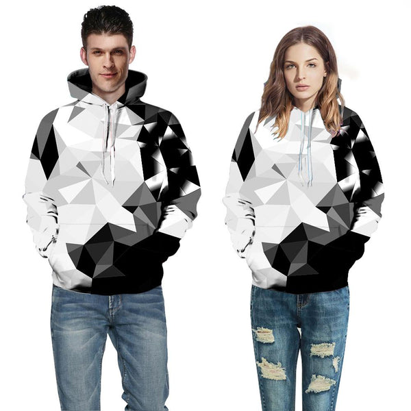 Black and White Geometric Digital Print hoodie