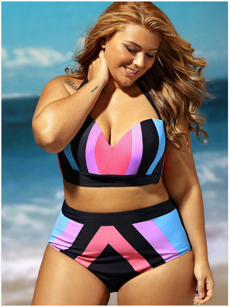 Plus Size Halter Neck Color Block Bikini Set