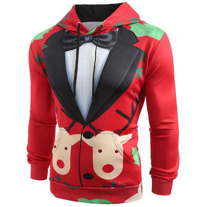 Funny Reindeer Faux Suit Print Ugly Christmas Pullover Hoodie Jacket Sweater