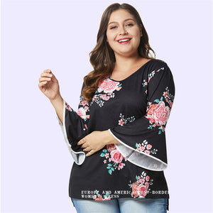 Plus Size Long Sleeve Print T-shirt
