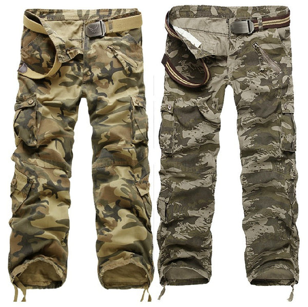Zipper Fly Multi-Pocket Drawstring Hem Camo Cargo Pants Men Camouflage Pants