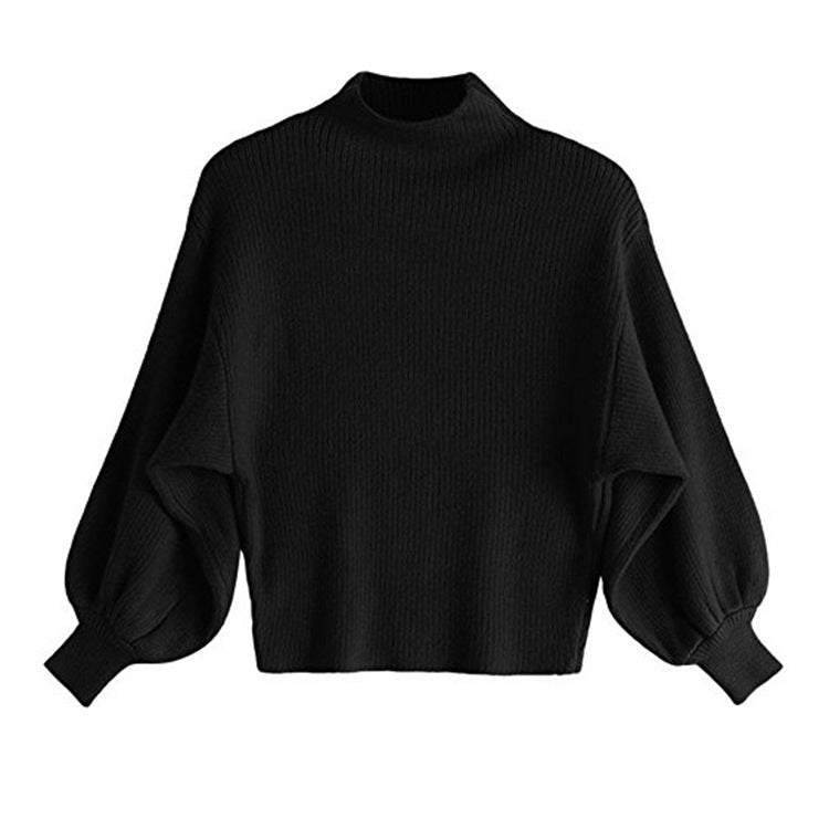 Loose Bat Type Solid Color Turtleneck Puff Sleeve Sweater