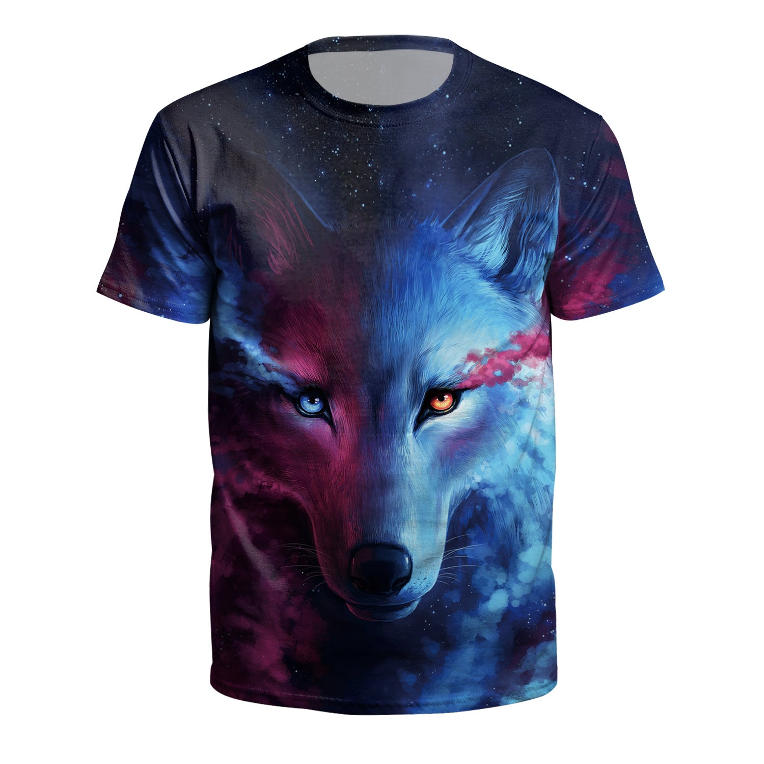 Wolf Printed Round Neck Pullover Short Sleeve T-shirt