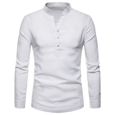 Men's Casual Business Linen Henry Collar Large Size Long Sleeve Shirt