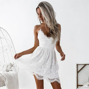 Sexy V-Neck Spaghetti Straps Lace Backless Women Party Club Beach Short Mini Dresses