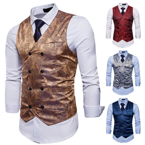 Gentleman Casual Print Suit Vest