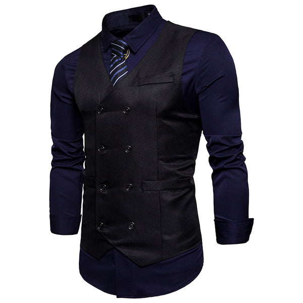 Casual Double Breasted Belt Design Waistcoat