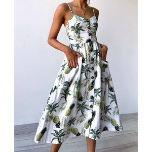 Pineapple Strap Button Up A Line Midi Dress