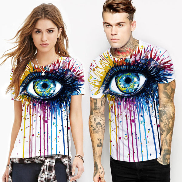 Graffiti Big Eyes Round Neck Digital Print T-shirt