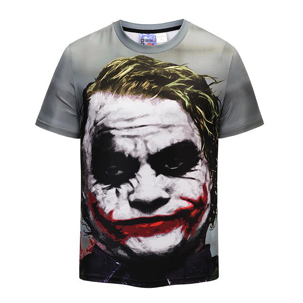 Zombie Clown Printed Round Neck Short Sleeve T-shirt