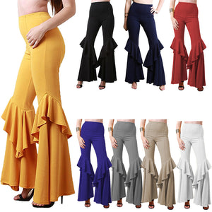 Plus Size Fashion High Waist Pleated Flare Pants Trousers