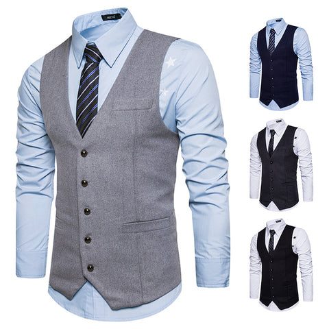 V Neck Faux Pocket Business Suit Vest Waistcoat