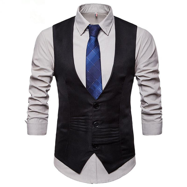 Men's V-neck Single-breasted Irregular Design Suit Vest Waistcoat