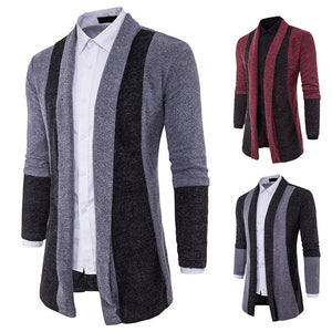 Men's Long Sleeve Fit Casual Knit Cardigan Coat
