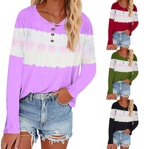 Women Tie Dye Color Block Casual Long Sleeve Button Shirt Blouse T-shirt Tops