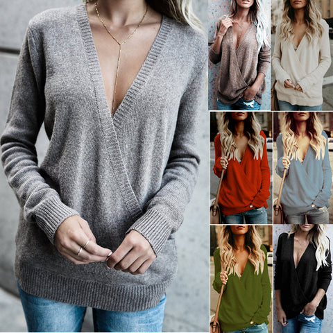 Stylish V-neck Crossover Sweater
