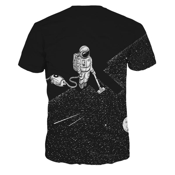 Space Robot Printed Casual Short Sleeve T-shirt