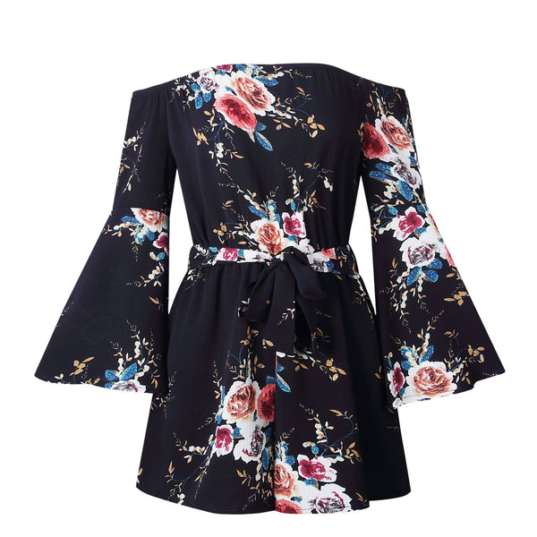 Chiffon Floral Print Long Bell Sleeve Off Shoulder Jumpsuits Rompers