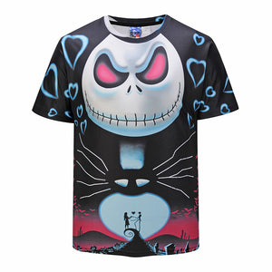 Halloween Cute 3D Skull Floral Print Men's T-Shirt