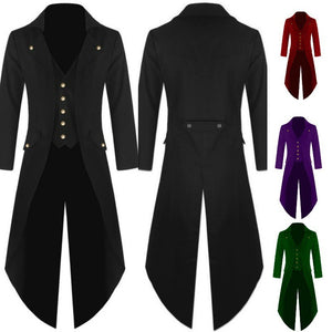 Men's Long Sleeve Solid Color Button Irregular Tuxedo