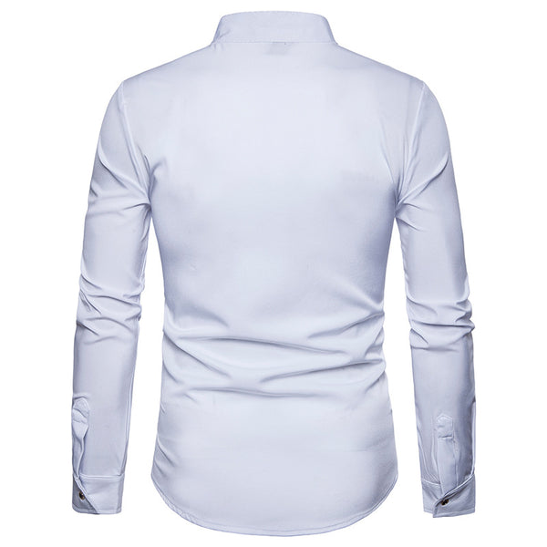 Embroidered Stand Collar Slim Solid Color Long Sleeve Shirt