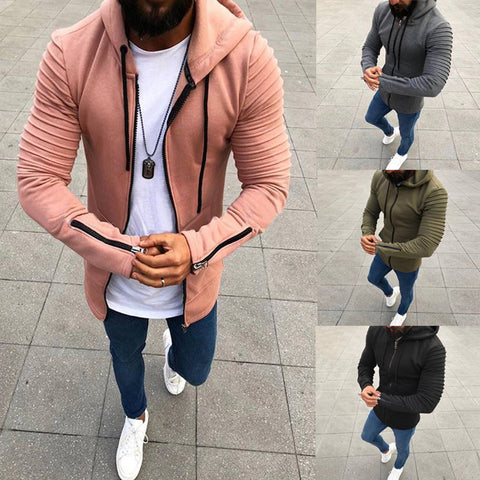 Solid Color Zipper Hooded Men's Cardigan Jacket