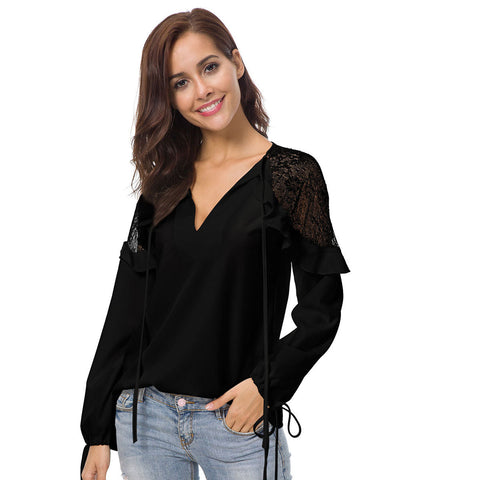 Lace-paneled Chiffon Shirt