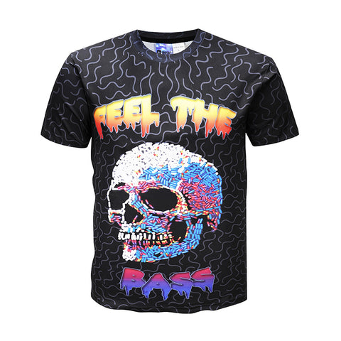 Men's 3D Rock Skull Print Casual T-shirt