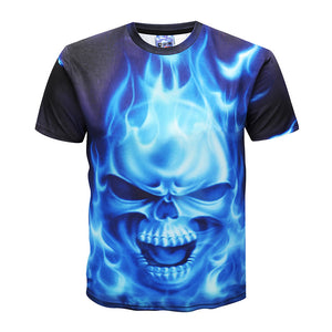 Men's 3D Flame Skull Print Casual T-shirt