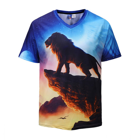 V-neck Creative Lion 3D Printed T-shirt