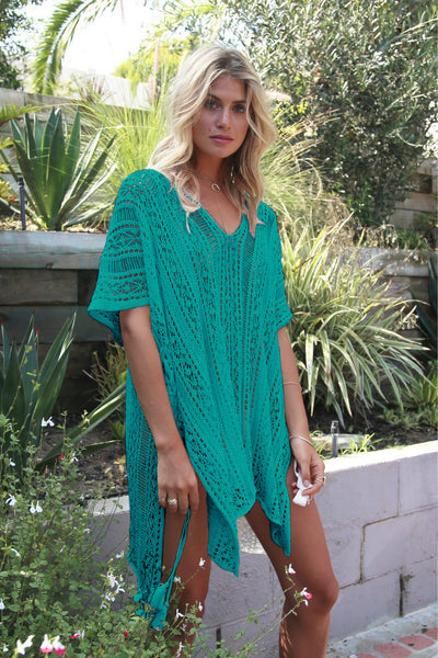 Crochet Knitted Tassel Tie Kimono Beachwear  Cover Up