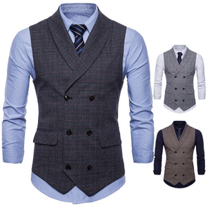 Fashion Business Casual Plaid Suit Vest Waistcoat