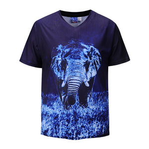 Loose V-neck 3D Elephant Print T-Shirt