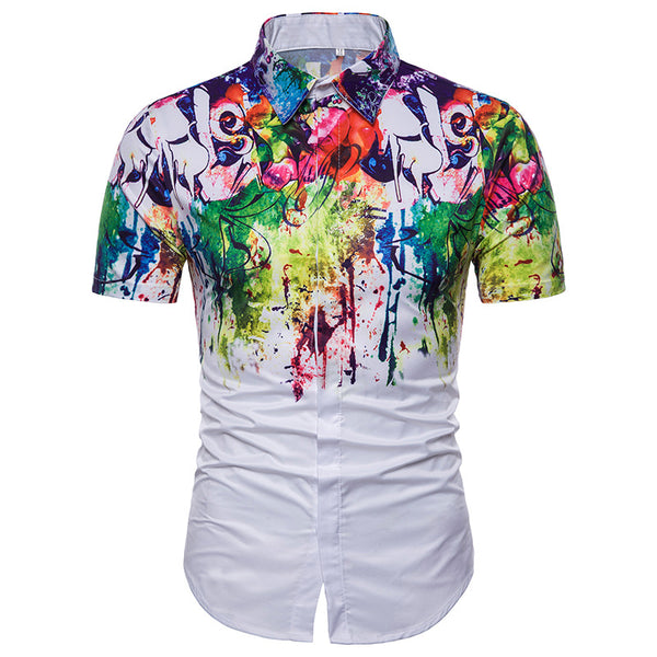Men's Casual Flower Splash Painted Short Sleeve Lapel Shirt