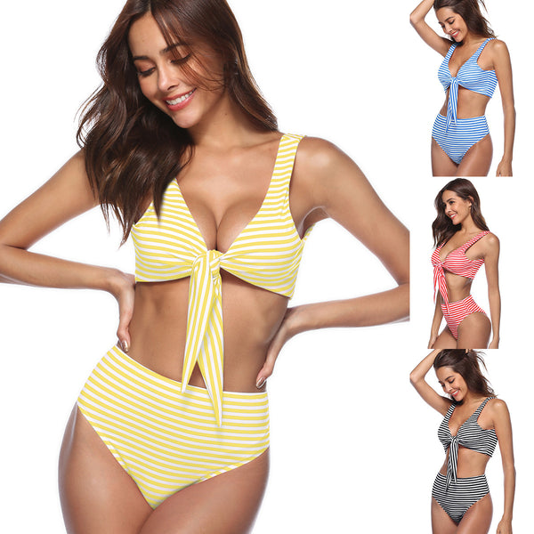 High Rise Knotted Striped Bikini Swimwear