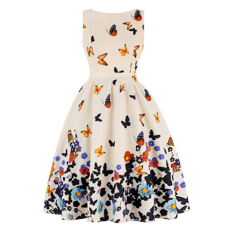 Butterfly Printed Women Vintage Sleeveless V Neck Flare Retro Summer Dress