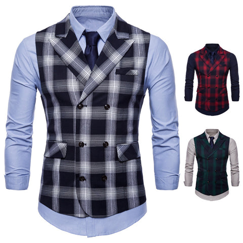 Fashion Business Casual Plaid Suit Vest