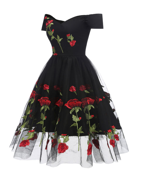 Rose Embroidered Lace Party Dress