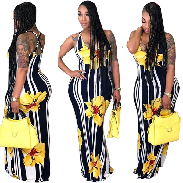 Casual U Neck Striped+Floral Printed Yellow Blending Floor Length Dress