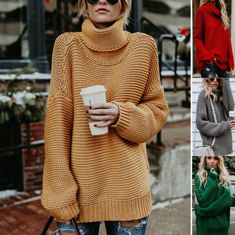 Drop Shoulder Turtleneck Chunky Sweater