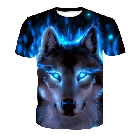 Men's 3D Blue Wolf Print Short Sleeve T-Shirt
