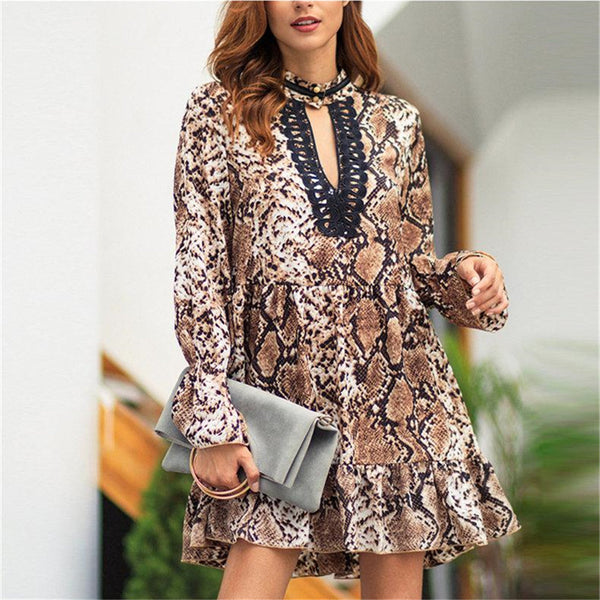 Leopard Lace Patchwork Women Dress