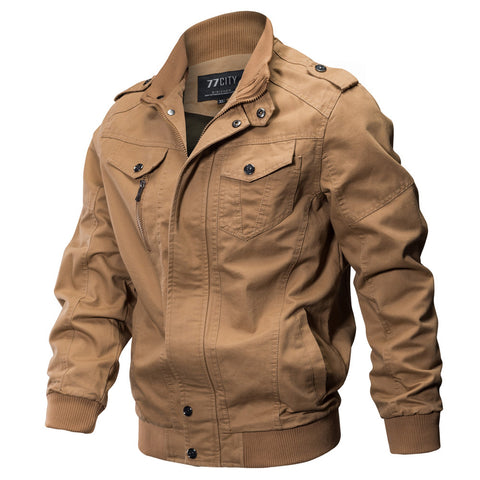 Men's Spring Fall Casual Windbreaker Jacket Cargo Stand Collar Military Bomber Jackets Coat