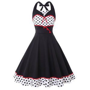 Polka Dot Printed Women Vintage Halter Wrapped Waist Casual Sleeveless Big Swing Party Midi Dress