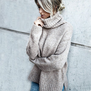 Solid Color Loose Fit Turtleneck Sweater