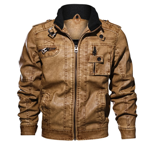 Faux Leather Zip Accent Multi-pocket Plus Size Big and Tall Jacket Coat for Men