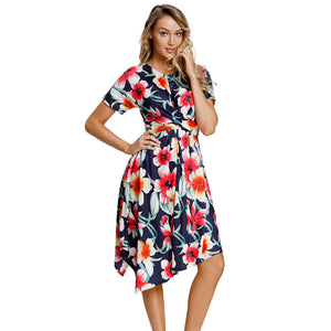 Printed Round Neck Short Sleeve Pleat Design Irregular Dress