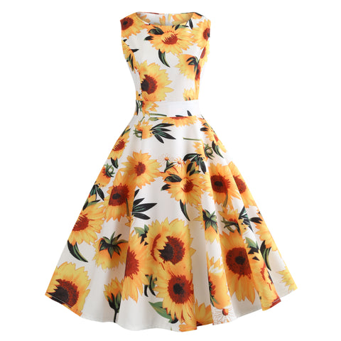 Sunflower Printed Women Vintage Sleeveless Summer Midi Flare Dress
