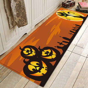 Halloween Pumpkin Bat Mat Doormat Rugs For Bathroom Living Room Kitchen